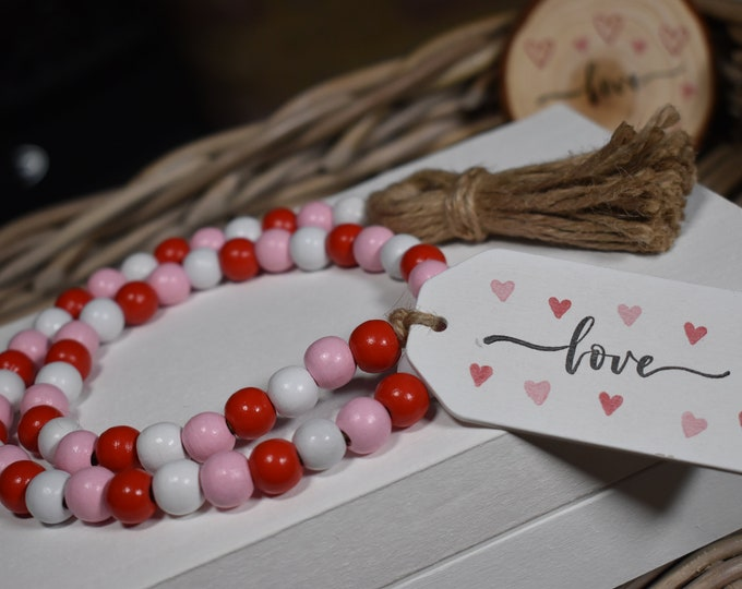 Valentines wooden bead garland, Valentines tiered tray decor, Valentines gifts, Farmhouse Valentines decor, Rustic table decor, Love hearts