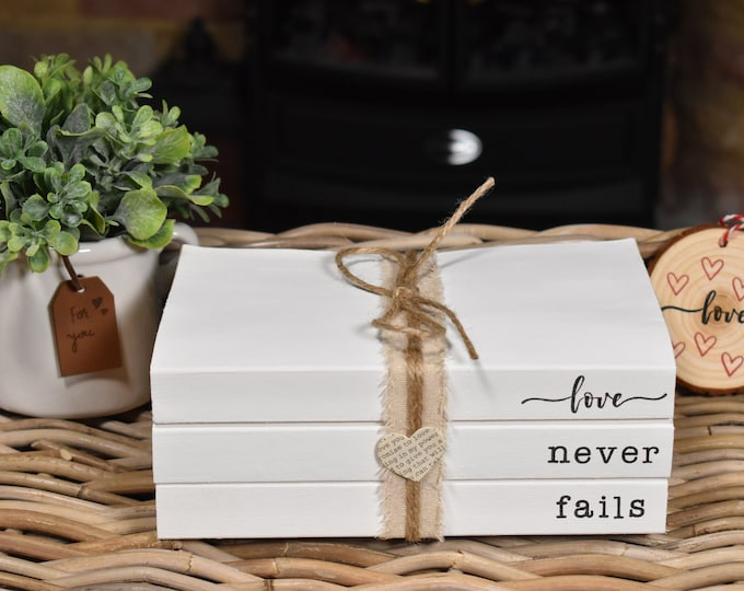 Love never fails stamped book stack, white decorative books, painted stacked books, Personalised books, coffee table books, home decor gifts