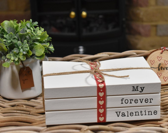 Valentines book stack, Personalised gifts for Valentines, White decorative books, Romantic book bundle, Stamped books, Farmhouse decor