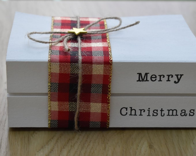 Merry Christmas stamped book set, Decorative Christmas book, Christmas book stack, Christmas gift, Rustic Christmas Decor, Personalised gift