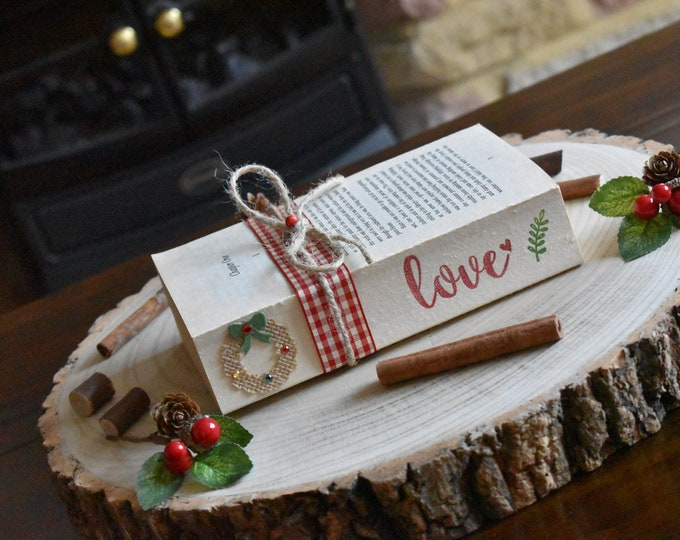 Rustic Christmas book decor, Christmas stamped book, decorative books, Christmas home decor, farmhouse decor, Personalised Christmas gifts