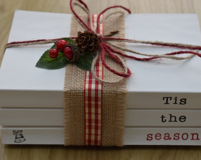 Tis the season Christmas book stack, Decorative books, Stamped book, Stacked books, Book bundle, Christmas decor, Book set, Rustic Christmas