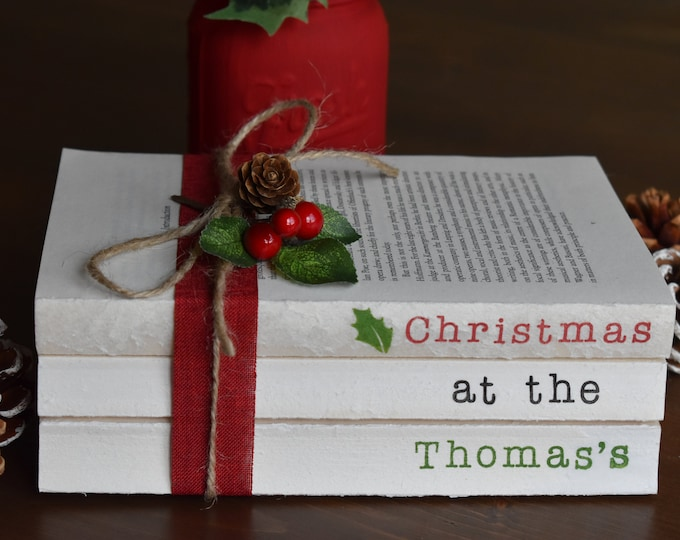 Personalised Christmas book stack, Custom stamped books, Personalised Christmas gifts, Custom family name books, Rustic decorative books