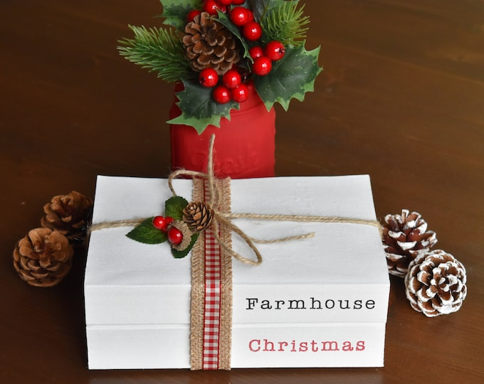 Farmhouse Christmas book decor, Christmas books, Painted books, Decorative books, Stamped books, Christmas book stack, Christmas decor gifts