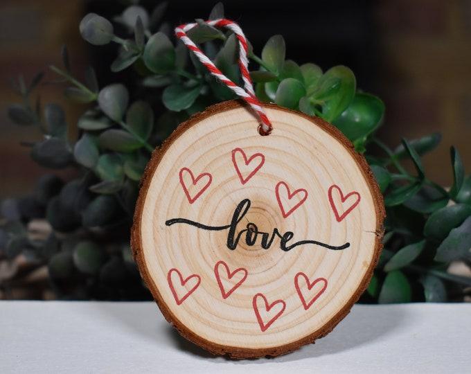 Rustic wood slice, Love decorative wood signs, Hearts home decor, Valentines gift ideas, Rustic shelf decor, Farmhouse decor, Wall decor