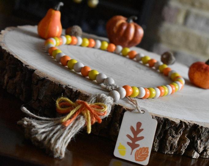 Autumn bead garland, fall farmhouse decor, autumn tiered tray decor, rustic home decor, farmhouse decor