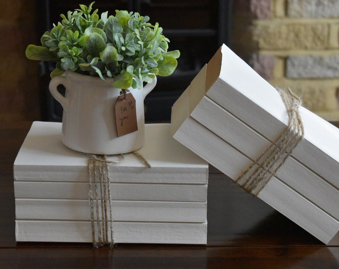 White decorative books, painted books, coffee table books, bookshelf decor, bookshelf art, book stack, stacked books, book bundle, book set