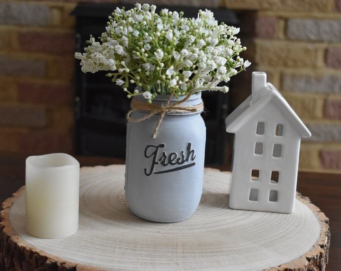 Grey painted mason jar with flowers, Distressed handmade vase, Farmhouse table decor, Rustic shelf decor, Shabby mantel decor, home gifts