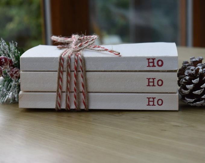 Ho Ho Ho Christmas stamped books, Rustic Christmas books, Holiday book stack, Festive table decor, Holiday shelf display, Candy cane decor