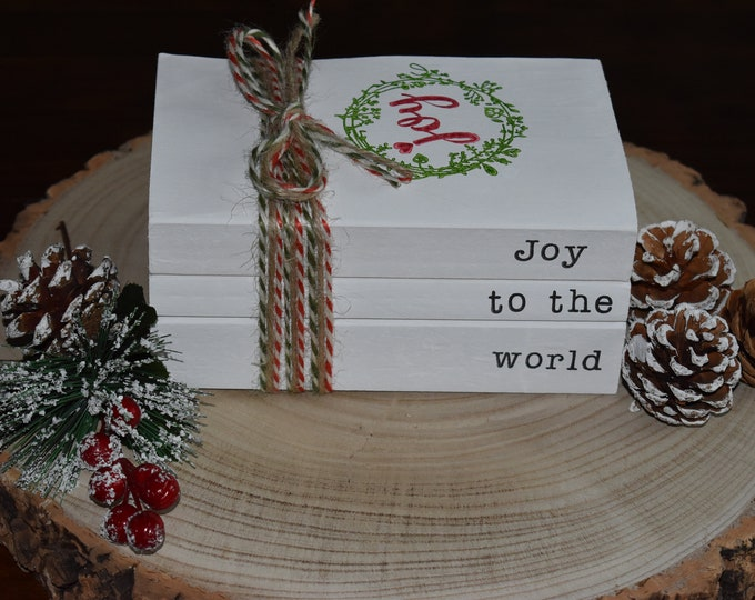 Joy to the world stamped book stack, Christmas decorative book set, Festive table decor, Rustic holiday centrepiece, Personalised book gifts