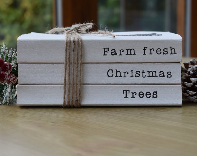 Farm fresh Christmas trees, Stamped book set, Christmas tree decor, Christmas stack of books, Festive shelf decor, Holiday table centrepiece