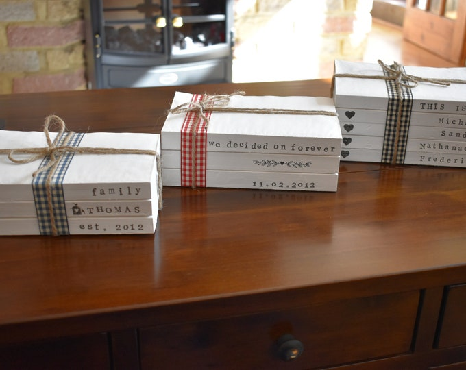 Personalised books, Painted decorative books, Books with names on spine, Stamped books, Book stack, Book decor, Book set, farmhouse books