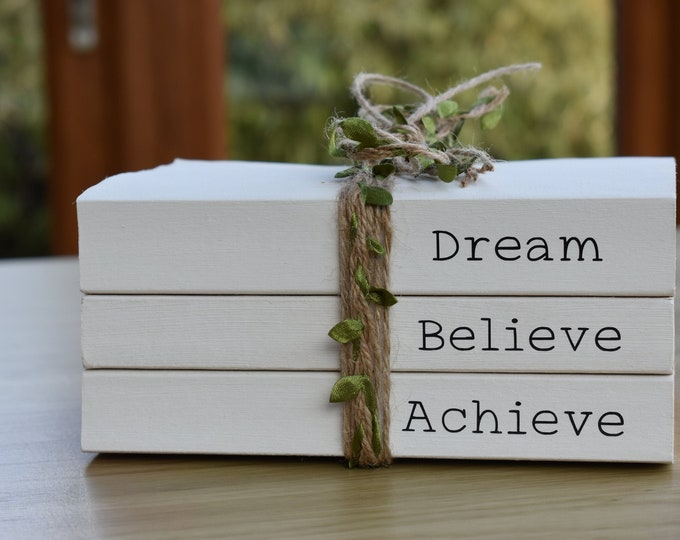 Custom quote book set, personalised book bundle, white painted book, decorative books, dream believe achieve, book stack, inspirational gift