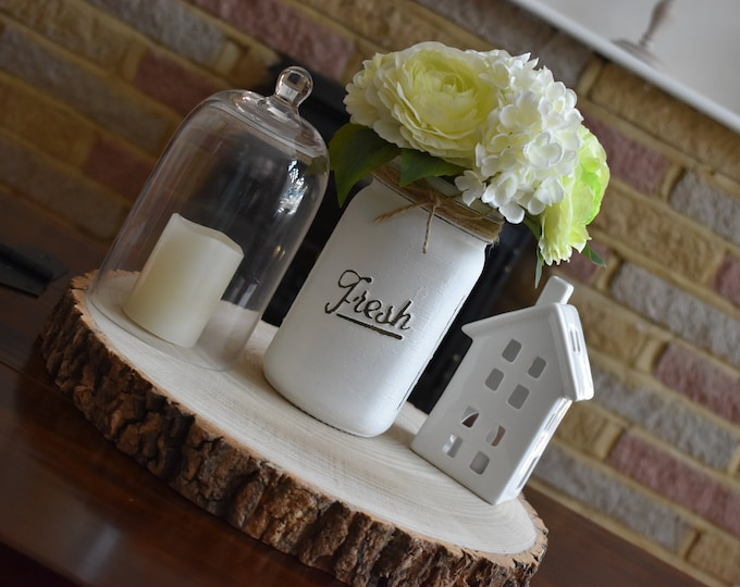 White painted distressed mason jar, Rustic vase with faux flowers, Farmhouse table decor, Faux flower bouquet, Shabby shelf decor, home gift