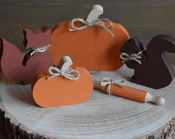 Autumn tiered tray bundle, Fall tiered tray decor, Painted woodland animals, Pumpkins, Farmhouse decor, Rustic shelf, Seasonal home decor