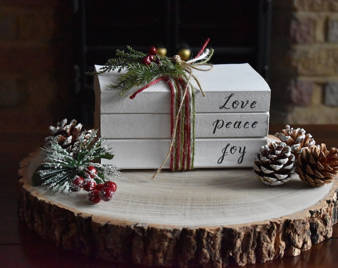 Love Peace Joy stamped book stack, Christmas centrepiece, Rustic Christmas decor, Farmhouse Christmas gifts, Personalised ornaments