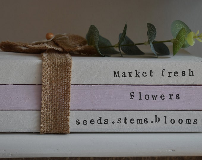 Market Fresh Flowers Seeds Stems Blooms Decorative Stamped Book Stack Country Shabby Rustic Farmhouse Spring Easter Home Decor Handmade Gift