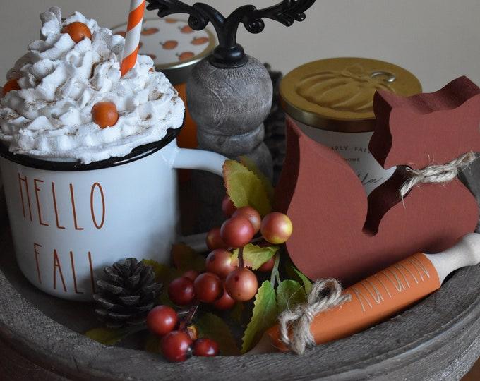 Autumn tiered tray decor, Fall tiered tray decor, Painted woodland animals, Mini wooden fox, Farmhouse decor, Rustic shelf decor, Home decor