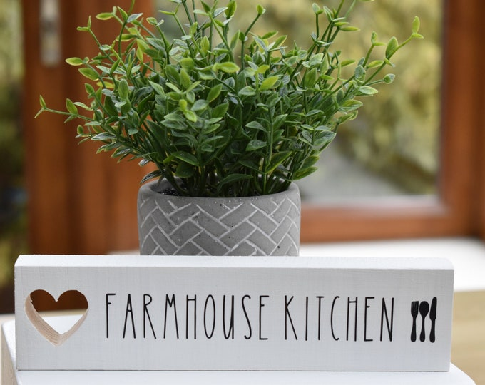 farmhouse kitchen standing sign, Rustic kitchen shelf sign, painted decorative kitchen table sign