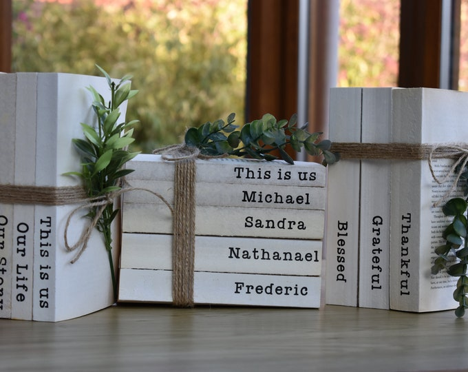 Personalised decorative books, rustic book stack, stamped family names, farmhouse shelf decor