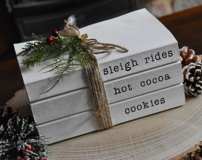 Christmas decor, Book stacks, Christmas gifts, Stamped books, Decorative books, Personalized books, Books with name, personalised gift