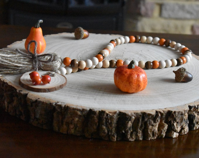 Fall tiered tray decor, Autumn bead garland, Farmhouse wooden beads, Rustic seasonal decor and gifts