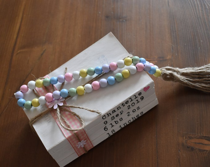 Rainbow Farmhouse Wooden Bead Garland With Tassels, Pastel Coloured Tiered Tray Decor, Rustic Shelf Decor, Coffee Table Decor, Home Gifts