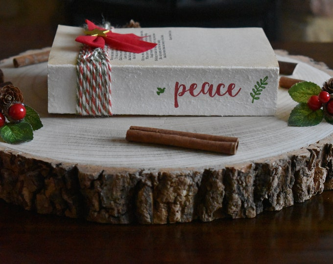 Christmas decorative books, Rustic Christmas decor, Christmas book set, Farmhouse Christmas decor, Stamped books, Custom book stack decor