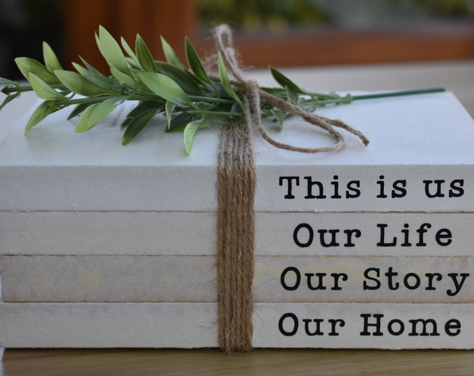 This is us, stamped book stack, farmhouse decorative books, rustic coffee table decor