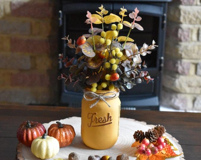 Fall mason jar with faux flowers, autumn decor, fall decor, rustic autumn decor, farmhouse fall decor