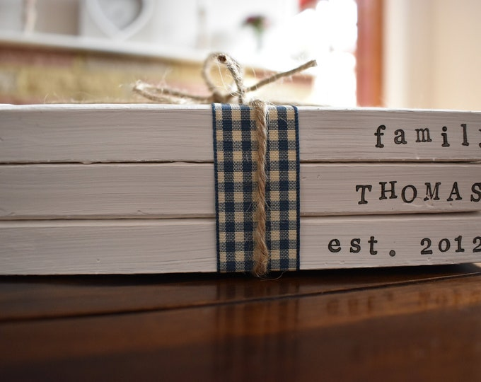 Personalised Custom Family Names Dates Quotes Stamped Painted Handmade Decorative Book Stack Sign Farmhouse Rustic Shabby Home Decor Gift