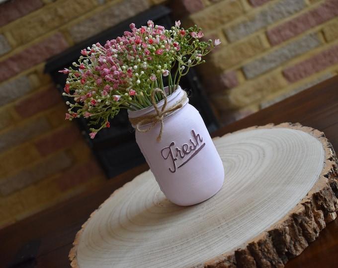 Pink painted mason vase with flowers, Distressed mason jar, farmhouse table decor, rustic shelf decor, Shabby chic home decor, Vintage gifts