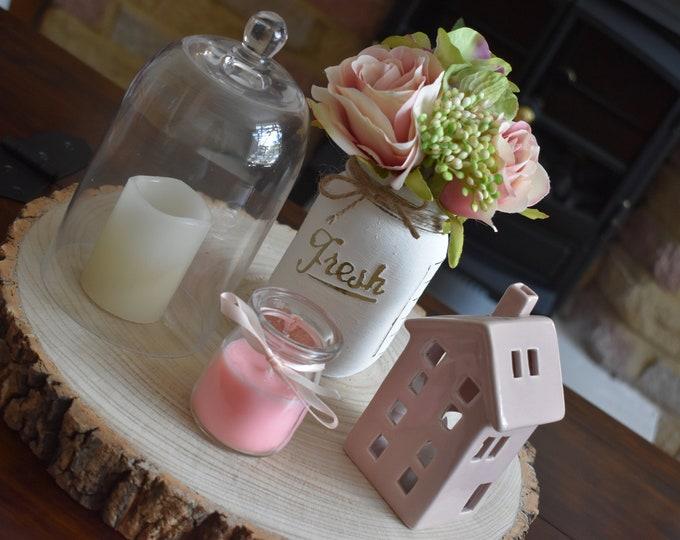 Hand painted distressed mason jar, Rustic vase with faux flowers, Farmhouse table shelf decor, Faux floral arrangement, Decorative home gift