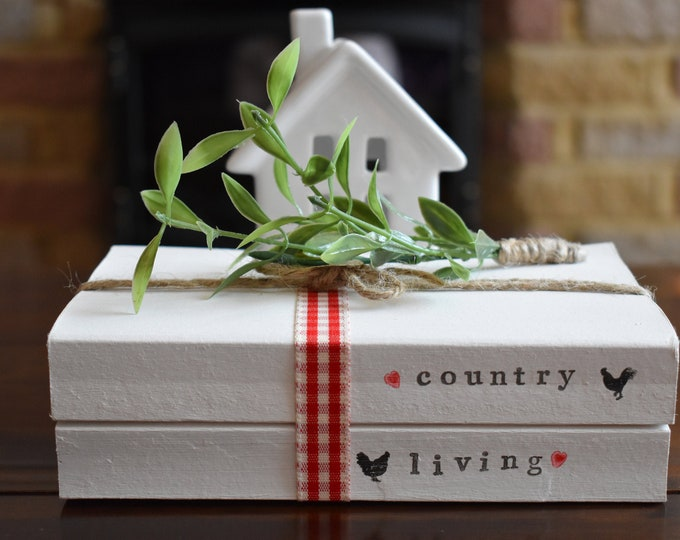 Country Living Stamped Book Stack, Farmhouse Home Decor, Rustic Decorative Shelf Sign, Red Gingham Table Decor, Personalised Book Gift ideas