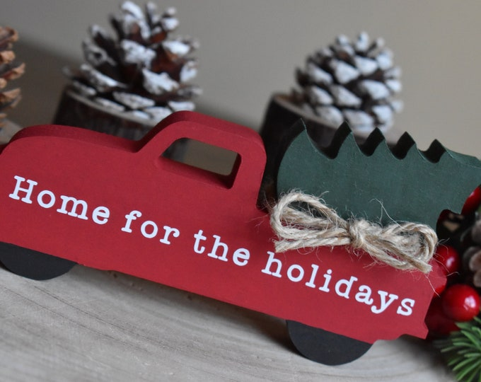 Christmas pickup truck, Christmas tier tray decor, Painted wooden pickup truck, Farmhouse Christmas decor, Rustic Home for the holiday sign