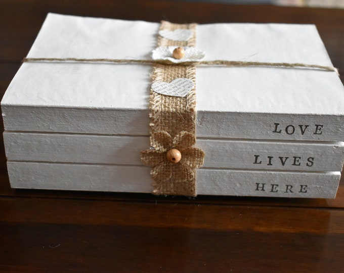 Love Lives Here, Decorative book bundle, Stamped farmhouse books, Rustic home decor, white painted book, coffee table decor, New home gifts