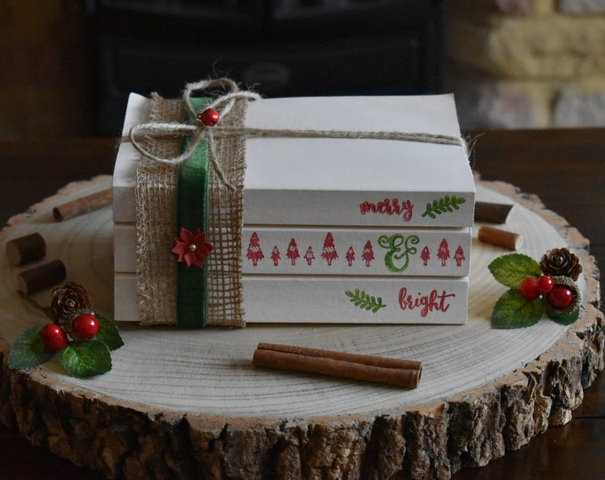 Stamped books, stamped book stack, Christmas books, Christmas stacked books, painted books, decorative books, farmhouse books, book bundle