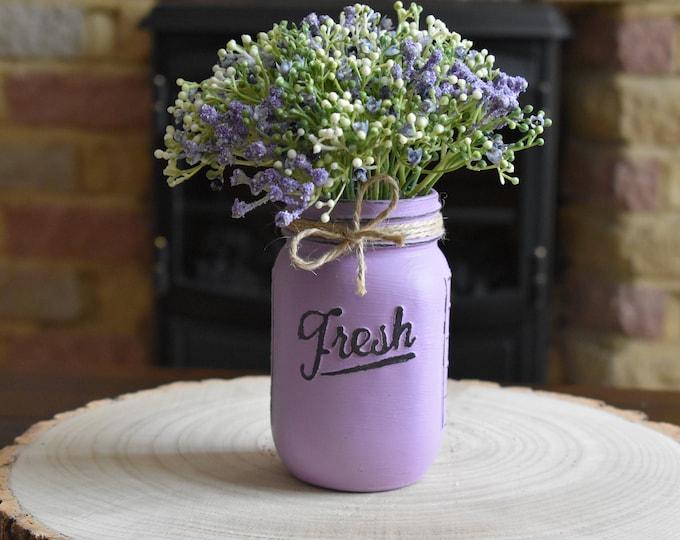 Lilac painted mason vase with flowers, Distressed jar decor, Farmhouse table decor, Rustic shelf decor, Shabby home decor, Vintage gifts