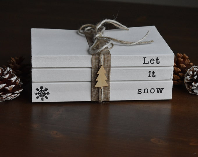 Let it snow, Christmas decorative books, Winter book decor, Snowflake decor, Stamped books, Books with Christmas sayings, personalised gifts