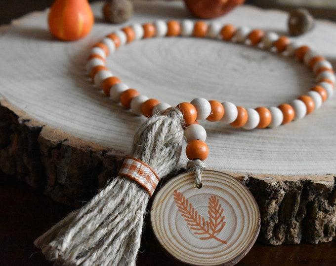Autumn farmhouse bead garland, Fall tiered tray decor, Farmhouse wooden beads, Rustic seasonal decor, Home gifts