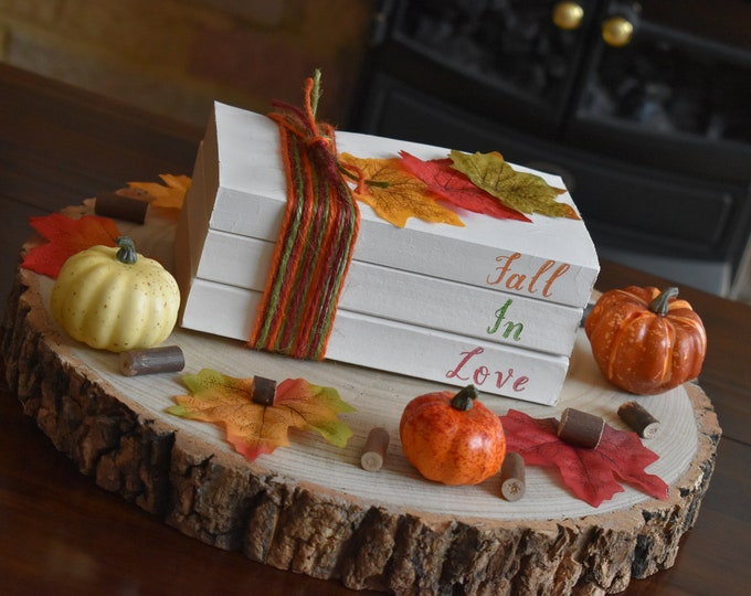 Fall book stack, Autumn stamped book, Autumn decor, Decorative books, Fall decor, Bookshelf art, Bookshelf decor, Autumn book, Painted books
