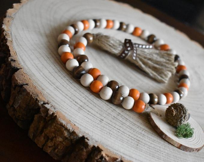 Autumn Tiered Tray Decor, Fall bead garland, Farmhouse wooden beads, Rustic seasonal home decor