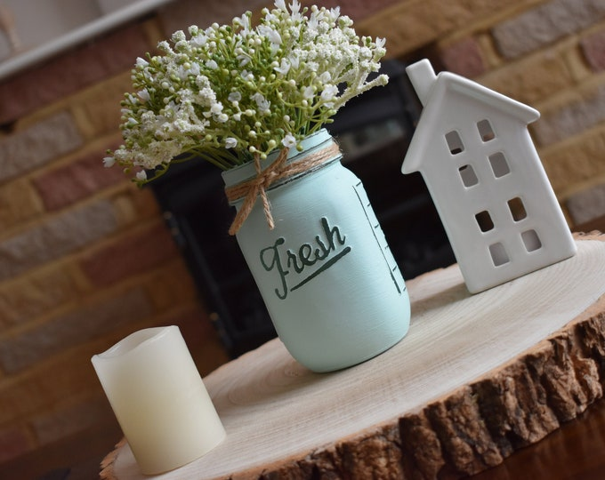 Mint painted mason vase with flowers, Distressed mason jar, Farmhouse table decor, Rustic shelf decor, Country home gifts, Office desk decor