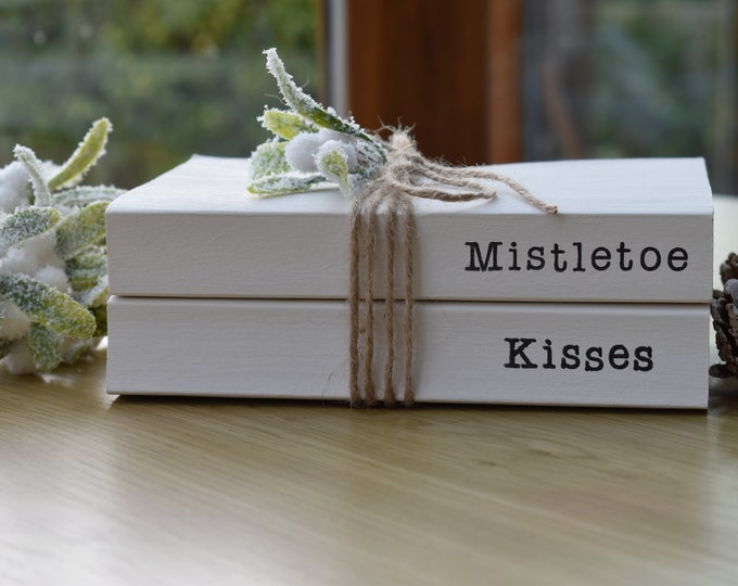 Winter home decor, Mistletoe kisses, Christmas stacked books, White decorative books, Personalised ornament, Christmas gift idea, book stack