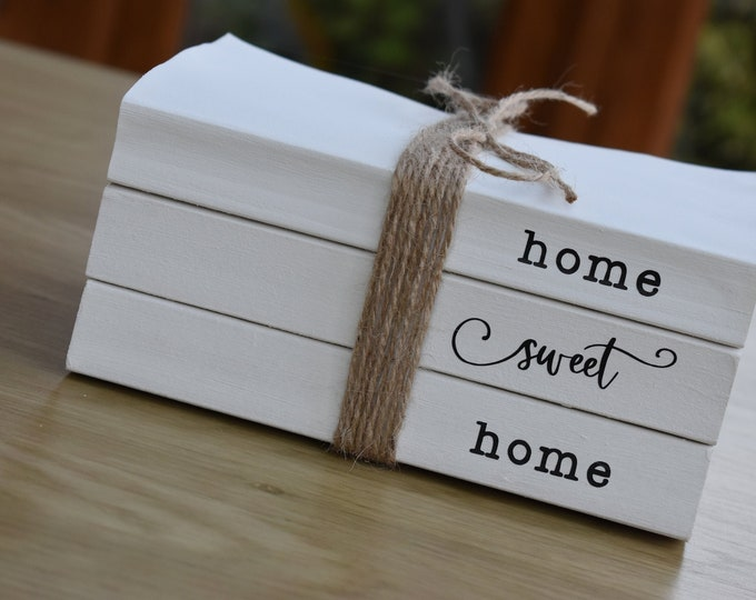 Home sweet home book stack, white decorative books, Personalised gifts