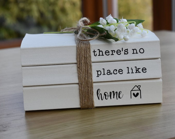 There's no place like home book stack, personalised book set, custom book bundle, white painted book, stamped decorative books, rustic shelf