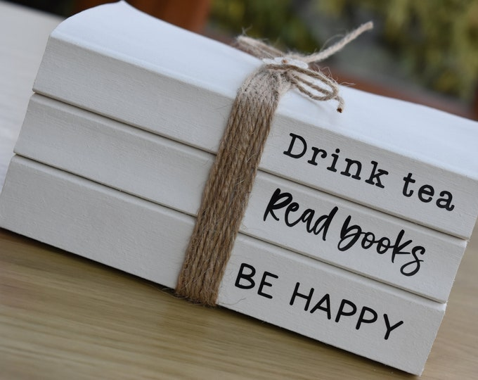 Personalised books with quote, white decorative books, stamped book stack, farmhouse decorative sign, custom rustic sign, coffee table book