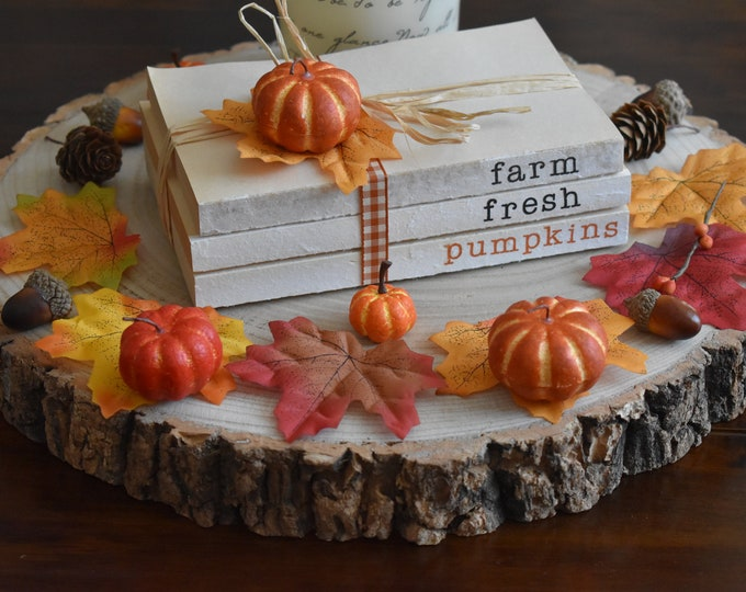 Farm fresh pumpkins, Autumn book decor, Fall farmhouse books, Stamped book stack, Vintage decorative books, Shelf decor, Rustic Home gifts