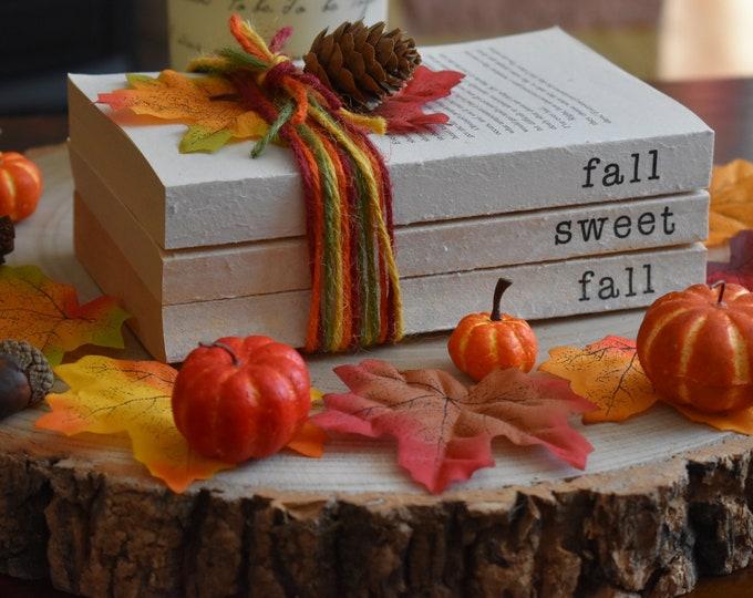 Fall sweet fall, Autumn decor, Fall decor, Farmhouse decor, Autumn stamped books, Fall book stack, Seasonal decorative books, Rustic gifts