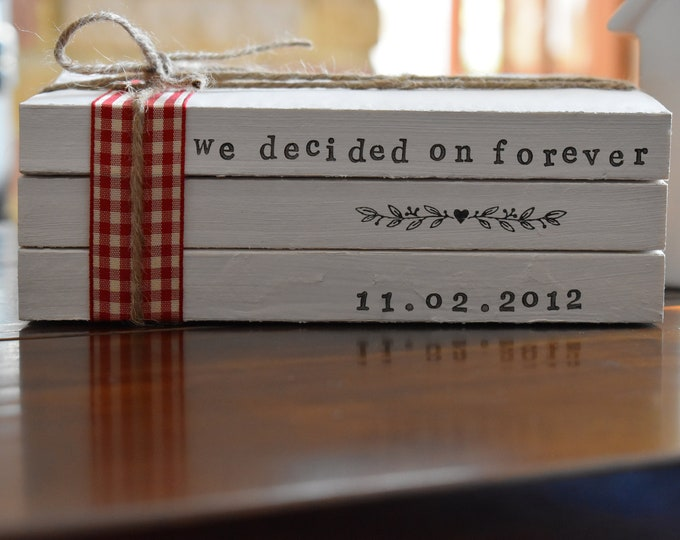 Personalised Custom Wedding Centrepiece Anniversary Couples Stamped Painted Handmade Book Stack Farmhouse Rustic Shabby Sign Home Decor Gift
